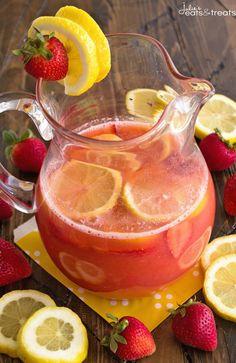 Skinny Spiked Strawberry Lemonade ~ Delicious Strawberry Lemonade Recipe Sweetened with Truvia and Spiked with Strawberry Lemonade Vodka!