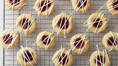 Raspberry Thumbprint Cookies - - Proving once and for all that jelly isn't just for breakfast, these jewel-toned treats are a must during the holiday season. Raspberry Thumbprint Cookies, Nutella Biscuits, Chocolate Biscuits, Tea Cookies, Holiday Cookies, Chip Cookies, Orange Cookies, Lemon Cookies, Recipes