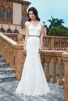 Sincerity - Sakura. Tulle, alencon lace, beaded lace fit and flare dress emphasized by a V-neck