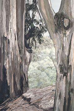 Eucalyptus I - Sewn art of Merle Axelrad Artist working in facric and textiles. via Hilde Asak Textile Fiber Art, Textile Artists, Landscape Art Quilts, Tree Quilt, Textiles, Thread Painting, Contemporary Quilts, Sewing Art, Felt Art