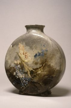 """Vase ca. 1878 - Jules-Auguste Habert-Dys (French, 1850-1924) (Decorator) / In about 1872, Charles Haviland, the Limoges porcelain manufacturer, opened his Auteuil Studio in Paris. Under the direction of Félix Bracquemond, the etcher and friend of the impressionist painters, the Auteuil Studio briefly produced """"Barbotine"""" wares, which combined an impressionistic handling of colors with elements of Japanese design, all rendered by hand."""
