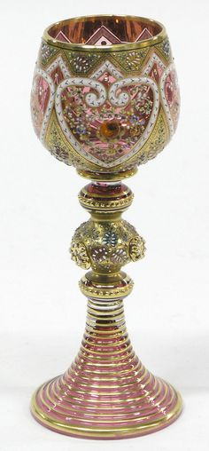 Hand blown Bohemian glass goblet with rich  Islamic design by Moser