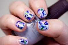 One-Stroke Violet Manicure (with DIY Decals!)