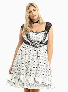 55e085797db07 This swing dress proves our love for the Pumpkin King with a black  Skellington bat print