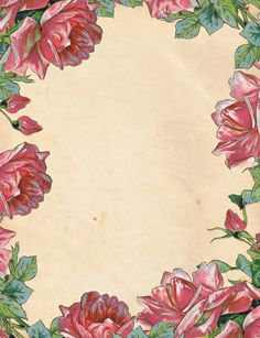"""A Garden of Roses"" ~ pink roses & buds border this aged paper stationery.  Free printable, 8.5"" x 11"""