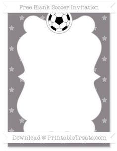 Free Taupe Grey Star Pattern Blank Soccer Invitation