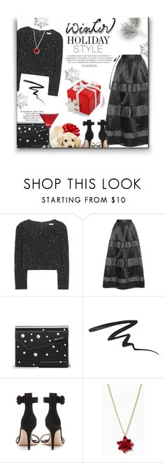"""""""Festive's *Black on Christmas Day"""" by sherieme ❤ liked on Polyvore featuring Alice + Olivia, Topshop, Jimmy Choo, Stila, Gianvito Rossi, jimmychoo, holidaystyle, mytheresa, HolidayParty and suedesandals"""