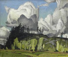 From Roberts Gallery Ltd., A.J. Casson, Summer Day, Haliburton (ca. 1940), Oil on board, 9 1/4 × 11 1/4 in ::: member Canadian Group of Seven artists