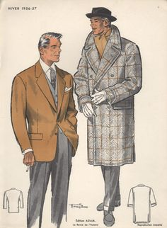 1950s fashion | Vintage Fashion Print, 1950s, Man in Hat and Jacket