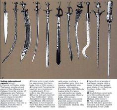 Various Indian swords.