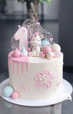 1st Birthday Cake For Girls, Beautiful Birthday Cakes, Baby Birthday Cakes, Baby First Birthday, Fondant Birthday Cakes, 1st Birthday Cake Designs, Frozen Fondant Cake, 1 Year Old Birthday Cake, 1st Bday Cake