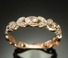 Solid 10K Rose Gold Art Vintage Wedding Band Diamond Antique Engagement Ring | eBay