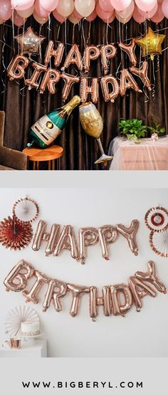 Happy Birthday balloons decorations banner in silver, gold, rose gold, red, blue. Happy Birthday b Happy Birthday Balloon Banner, Birthday Balloon Decorations, Pink Party Decorations, Happy Birthday Rose, Pink And Gold Birthday Party, 40th Birthday Parties, 25th Birthday, 18th Birthday Decor, Macaroons