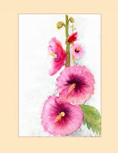 Tiger Painting, Watercolour Painting, Watercolor Flowers, Pink Poppies, Pink Flowers, Hollyhocks Flowers, Watercolours, Wall Prints, Printable Art