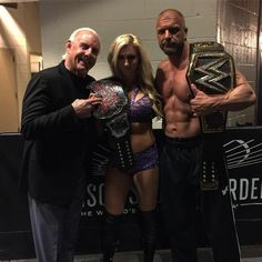Three generations of the business @madisonsquaregarden. #RicMadeMeTakeOffMyShirt #WWEMSG @charlottewwe @ricflairnatureboy