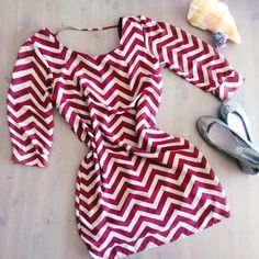 Oxblood Chevron Patterened Dress Worn once for a wedding. Can look great styled loose and billowy or cinched with a belt! No rips, stains, or odors. Any questions just ask! Charlotte Russe Dresses