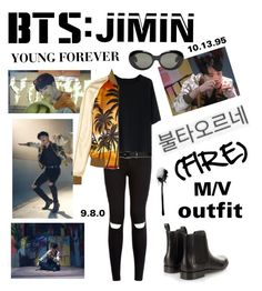 """BTS: JIMIN ""Fire"" M/V Outfit"" by itzbrizo ❤ liked on Polyvore featuring New Look, Chicwish, Lauren Ralph Lauren, Yves Saint Laurent, Lanvin and Acne Studios"