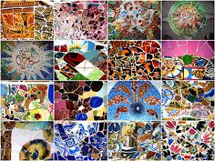 Tile patterns from the Park Güell Bench, Barcelona, Catalonia. Designed by Gaudi . Photo courtesy Make Mine Mosaic.