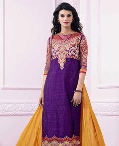 Buy Grand Purple & Yellow Straight Cut Salwar Kameez online at  https://www.a1designerwear.com/grand-purple-yellow-straight-cut-salwar-kameez  Price: $29.24 USD