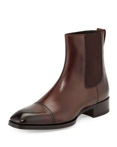 Gianni Leather Chelsea Boot, Brown by TOM FORD at Neiman Marcus.