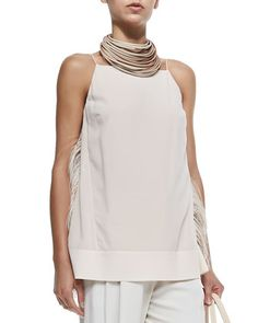 Strapped Tank W/ Ostrich Feather Sides by Brunello Cucinelli at Neiman Marcus.