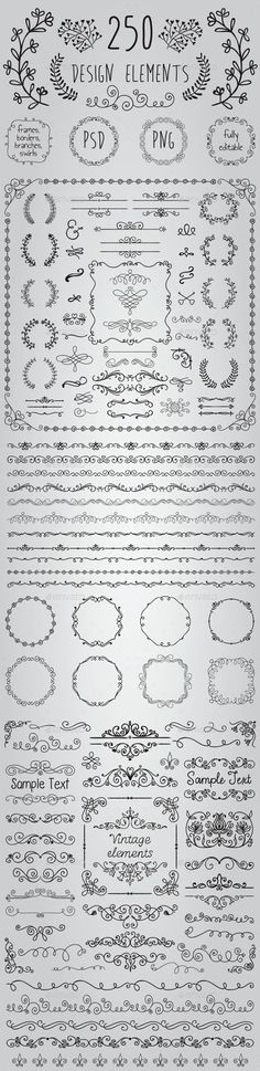 Big Set of 250 Handsketched Design Elements (Transparent PNG, CS, 500x500, 6.9x6.9, banners, black, border, branch, bundle, clipart, congratulation, decoration, drawing, editable, elements, flourish, foliage, foliate, frame, greeting, hand drawn, invitation, laurels, leaves, ornaments, pack, rustic, sketch, wedding):