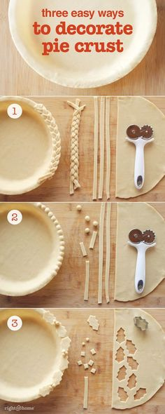 Try these 3 easy pie decorations - perfect for the holidays!: