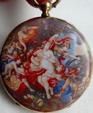 Muzeum starožitný Neoklasicistní 18k Gold & smalt French Erotic kapesní hodinky c1840 je
