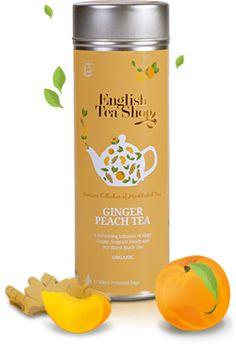 English Tea Shop – Bio gyömbér-őszibarack tea, 15 filter, 30 g