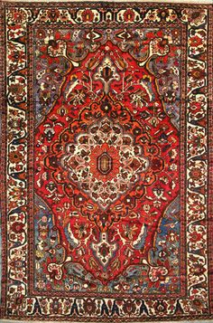 "Buy Bakhtiari Persian Rug 6' 11"" x 10' 4"", Authentic Bakhtiari Handmade Rug"