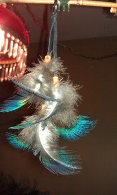 Peacock Feather Key Chain Bag Charm Zipper by CherylsGoodStuff, $4.50