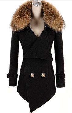 New Arrival Breasted raccoon fur-Coat  Coat (Black,Orange)