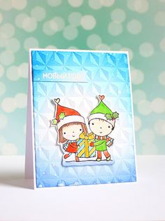 Christmas card with Penny Black stamps