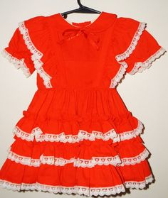 Vintage Little Girl's Red Dress Sz 3 SMALL WORLD Full Layered Ruffled #smallworld