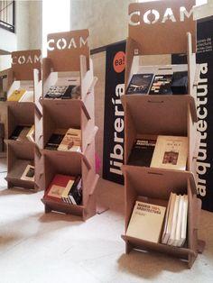 Bookcase exhibitor library bookshelf for architects designed by Cartonlab. #bookshelf #bookcase #exhibitor