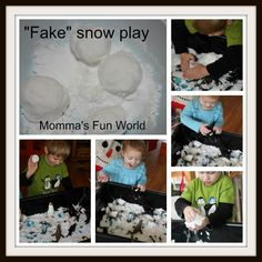 "Another ""Fake Snow"" recipe that feels real. 3 cups baking soda + 1/2 cup hair conditioner (white) This is also a great blog!!!"