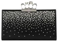 cd29b2b3a5f1f Alexander McQueen Knuckle Black Leather Clutch.