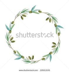 Watercolor olive branch wreath. Hand drawn natural vector frame.