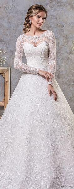 amelia sposa fall 2018 bridal long sleeves illusion jewel sweetheart neckline full embellishment elegant princess a line wedding dress lace back chapel train (17) mv -- Amelia Sposa Fall 2018 Wedding Dresses #laceweddingdresses