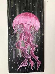 Original painting on stretched canvas. A funky bright jellyfish hand painted with metallic splash in the background. Great piece for any jellyfish lover. Sides are painted, no need for a frame. Artwork signed by Artist Pink Jellyfish, Jellyfish Drawing, Jellyfish Painting, Jellyfish Tattoo, Watercolor Jellyfish, Jellyfish Quotes, Jellyfish Aquarium, Princess Jellyfish, Jellyfish Sting