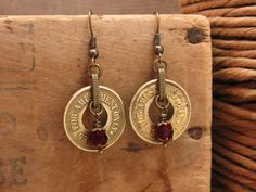 Token Jewelry - JULY Birthstone - Authentic Brass Amusement Token Earrings - Tokens of my Love - Ruby Beadwork - Unique Valentine's Day Gift by thekeyofa on Etsy https://www.etsy.com/listing/92344211/token-jewelry-july-birthstone-authentic