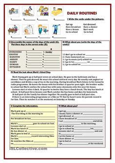 This simple worksheet can be used for teaching and practising the Present Simple tense, days of the week, different daily activities. English Writing Skills, English Lessons, English Vocabulary, Teaching English, Learn English, Daily Routine Worksheet, Daily Routines, Classroom Activities, Daily Activities