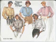 Vogue's Basic Design Ladies Blouse Pattern Size 8-10-12 Vogue 1648 UNCUT by DawnsDesignBoutique on Etsy