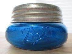 Mercury Glass Ball Mason Jar Blue Half Pint Size by SalvagedGlass Antique Bottles, Vintage Bottles, Bottles And Jars, Antique Glass, Glass Bottles, Ball Canning Jars, Ball Mason Jars, Cobalt Glass, Cobalt Blue