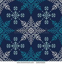 Winter Holiday Knitted Pattern with Snowflakes. Seamless Vector Background - stock vector