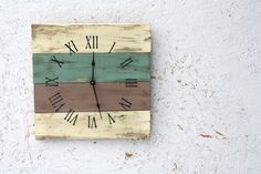Beach House style PALLET WOOD Clock...ReCycled wood...distressed, aged.  Customize :) on Etsy, $50.00
