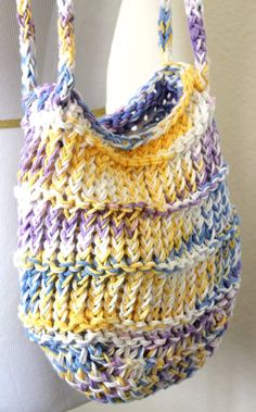 Loom Knit Mesh Cotton Beach Bag by sparkleknit on Etsy