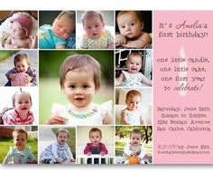This may be the winner- I LOVE LOVE LOVE it!!! 1st birthday invite with photos #invite #baby_photos