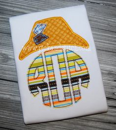Monogram Scarecrow Hat Applique. Great for Fall, Halloween and Thanksgiving!