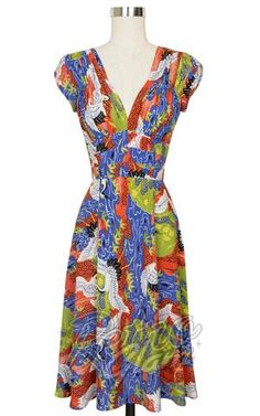 Trashy Diva 1940's Dress in Cranes Print front